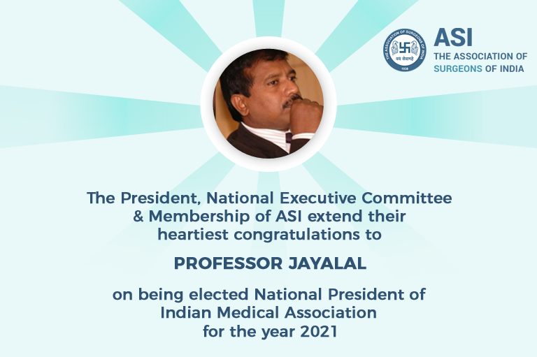 Prof. Jayalal elected as National President of Indian Medical Association for the year 2021